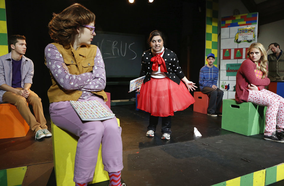 "Elisa Regulski, Kira Stenson and Sophie Moshofsky rehearse ""Junie B in Jingle Bells Batman Smells"" at Oklahoma Children's Theatre. <strong>Jim Beckel - THE OKLAHOMAN</strong>"