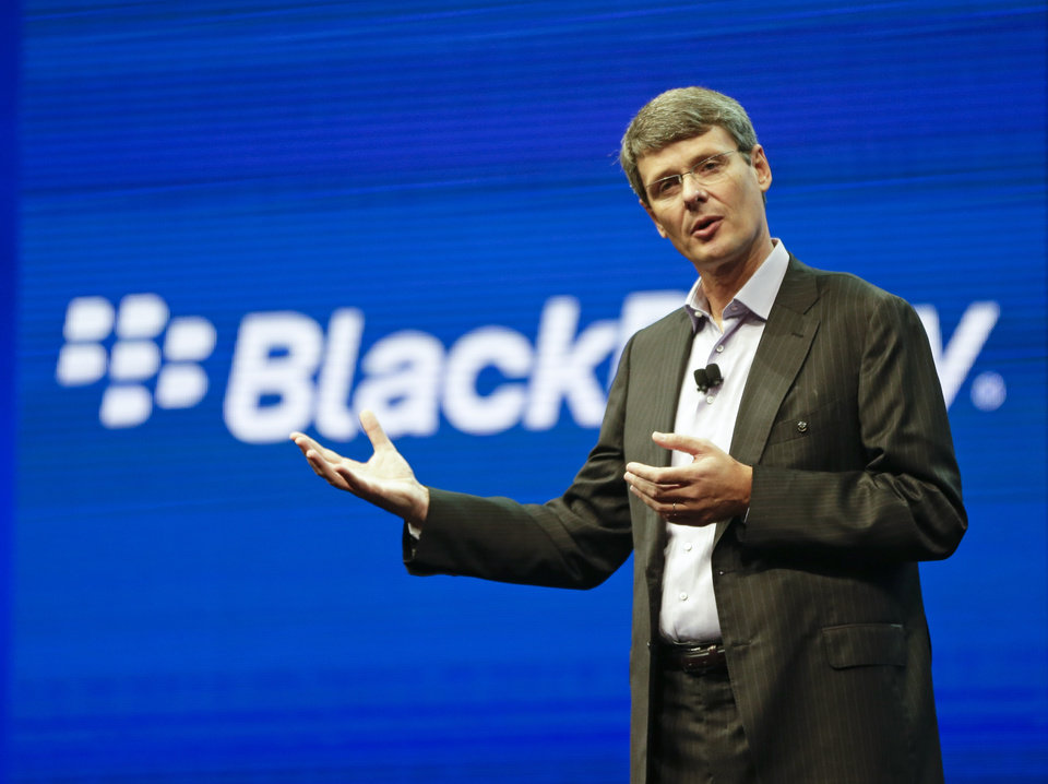 Photo - In this May 14, 2013 photo, Thorsten Heins, president and CEO at BlackBerry, speaks at a conference in Orlando, Fla. BlackBerry on Friday, Sept. 20, 2013 said that it will lay off 4,500 employees, or 40 percent of its global workforce, as it reports a nearly $1 billion second-quarter loss a week earlier than the results were expected. (AP Photo/John Raoux, File)