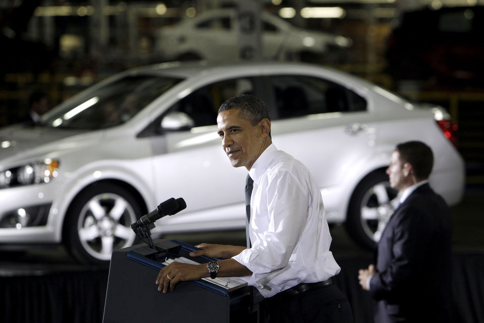 FILE - In this Friday, Oct. 14, 2011, file photo, President Barack Obama speaks at the General Motors Orion assembly plant in Orion Township, Mich. The U.S. government said Wednesday, Dec. 19, 2012, that it will sell its remaining stake in General Motors in the next year or so, winding down a $50 billion bailout that saved the iconic American car giant but also set off a heated debate about government intervention in private business that influenced this year�s presidential election. (AP Photo/Carlos Osorio, File)