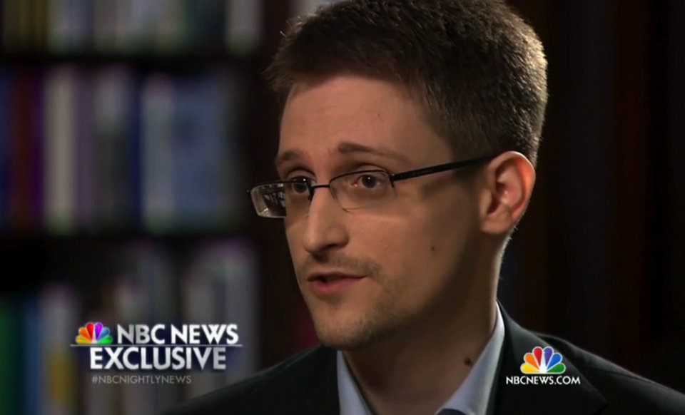 Photo - In this image taken from video provided by NBC News on Tuesday, May 27, 2014, Edward Snowden, a former National Security Agency (NSA) contractor, speaks to NBC News anchor Brian Williams during an NBC Exclusive interview. Snowden told Williams that he worked undercover and overseas for the CIA and the NSA. (AP Photo/NBC News)