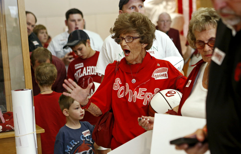 Sue Mouser reacts as she waits for an autograph during the Sooner Caravan stop at the National Cowboy & Western Heritage Museum  in Oklahoma City, Wednesday, August 1, 2012. Photo by Bryan Terry, The Oklahoman