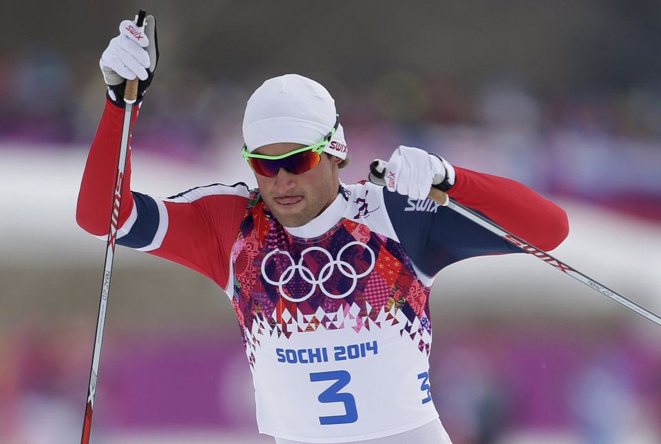 Photo - Norway's Petter Northug competes in the men's qualification of the cross-country sprint at the 2014 Winter Olympics, Tuesday, Feb. 11, 2014, in Krasnaya Polyana, Russia. (AP Photo/Matthias Schrader)