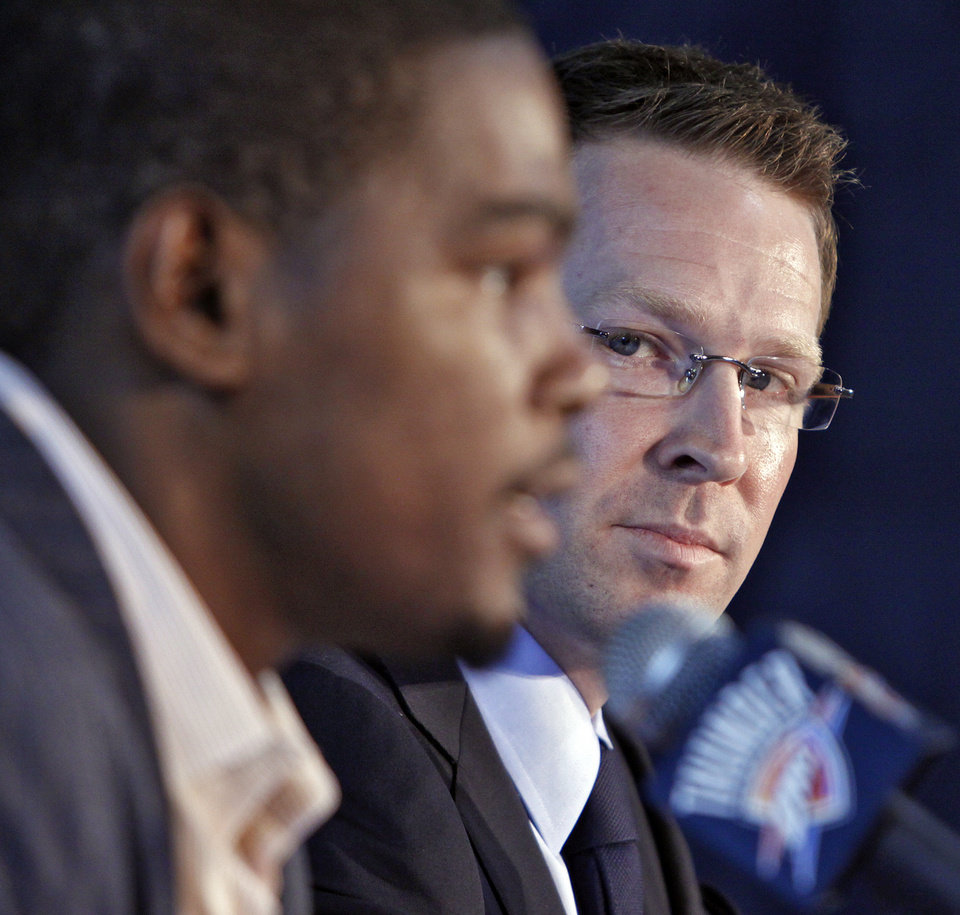 Photo - Sam Presti's big move, like signing Kevin Durant to a contract extension, are only part of the general manager's plan for the Thunder. Photo by Chris Landsberger, The Oklahoman