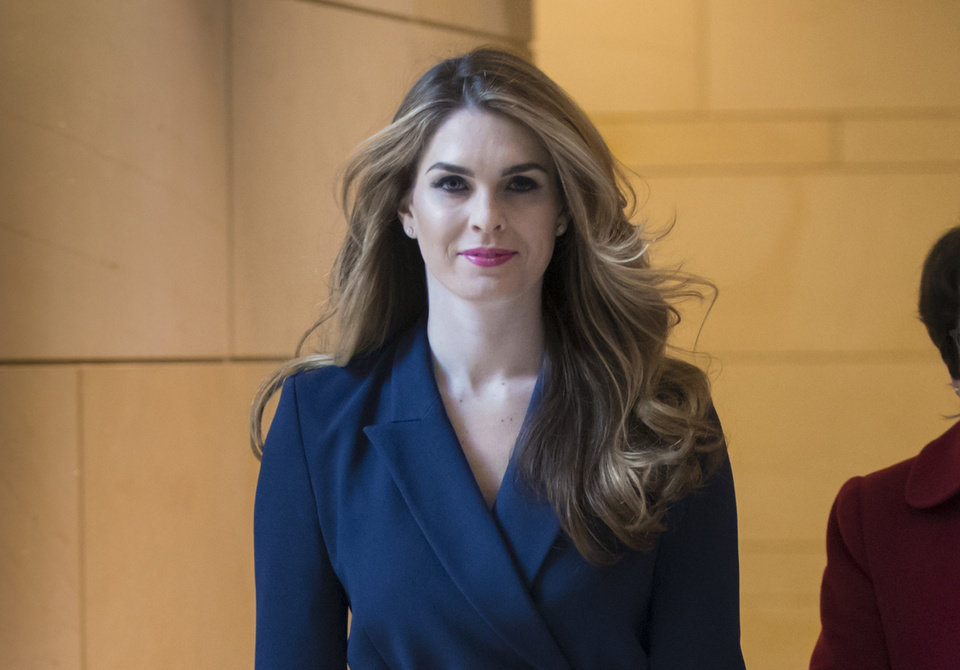 Photo -  In this Feb. 27, 2018, photo, then-White House Communications Director Hope Hicks arrives to meet behind closed doors with the House Intelligence Committee, at the Capitol in Washington. [J. Scott Applewhite/Associated Press File Photo]