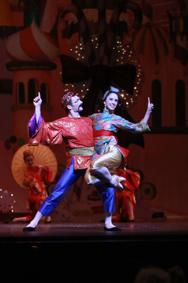 Photo - Oklahoma City Ballet's Paul Kirk and Ellany Abbott appear in costume as Chinese dancers in