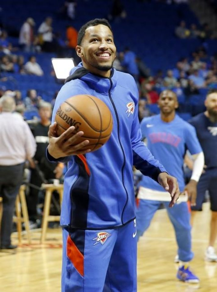 Photo -  Oklahoma City's Andre Roberson (21) shoots baskets during warm ups before the preseason NBA game between the Oklahoma City Thunder and the Dallas Mavericks at the BOK Center in Tulsa, Okla. , Tuesday, Oct. 8, 2019. [Sarah Phipps/The Oklahoman]