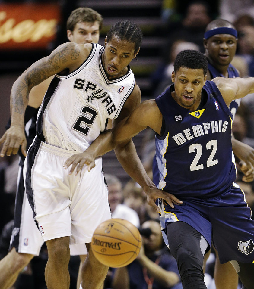 San Antonio Spurs' Kawhi Leonard (2) and Memphis Grizzlies' Rudy Gay (22) battle for a loose ball during the first quarter of an NBA basketball game, Wednesday, Jan. 16, 2013, in San Antonio. (AP Photo/Eric Gay)