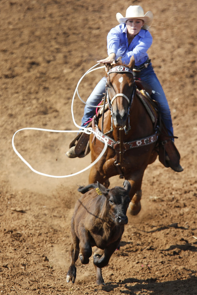 Kaylin Moore, Greenbrier, Arkansas competes in the Breakaway Roping during the International Finals Youth Rodeo at the Heart of Oklahoma Expo Center in Shawnee, Monday July 8, 2013. Photo By Steve Gooch, The Oklahoman
