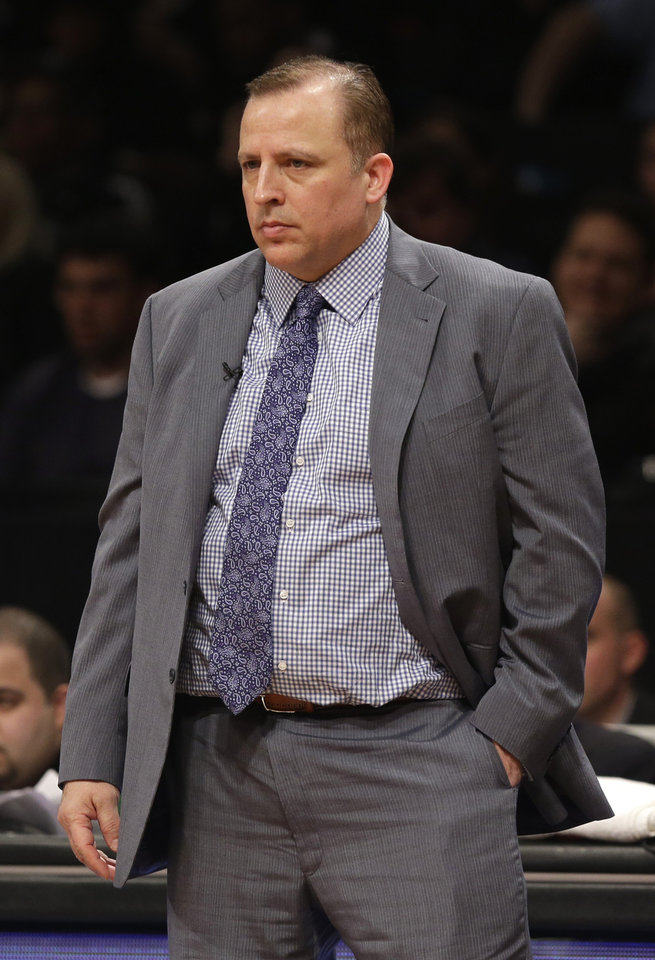 Chicago Bulls head coach Tom Thibodeau watches during the second quarter of Game 1 against the Brooklyn Nets in the first round of the NBA basketball playoffs at the Barclays Center Saturday, April 20, 2013 in New York. (AP Photo/Seth Wenig