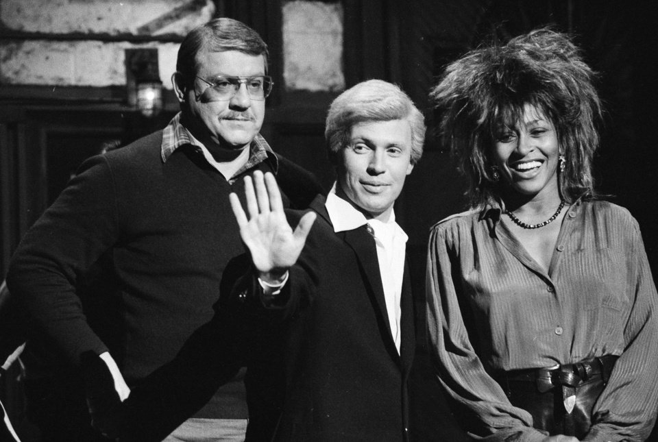 "FILE - In this Jan. 31, 1985 file photo, ""Saturday Night Live"" actor Billy Crystal, in character as ""Fernando,"" center, is flanked by host Alex Karras and musical guest Tina Turner during a rehearsal, in New York. Karras, who gained fame in the NFL as a fearsome defensive lineman and later as an actor, has died. He was 77. Craig Mitnick, Karras' attorney, said Karras died at home in Los Angeles on Wednesday, Oct. 10, 2012, surrounded by family. (AP Photo/Marty Lederhandler, File)"