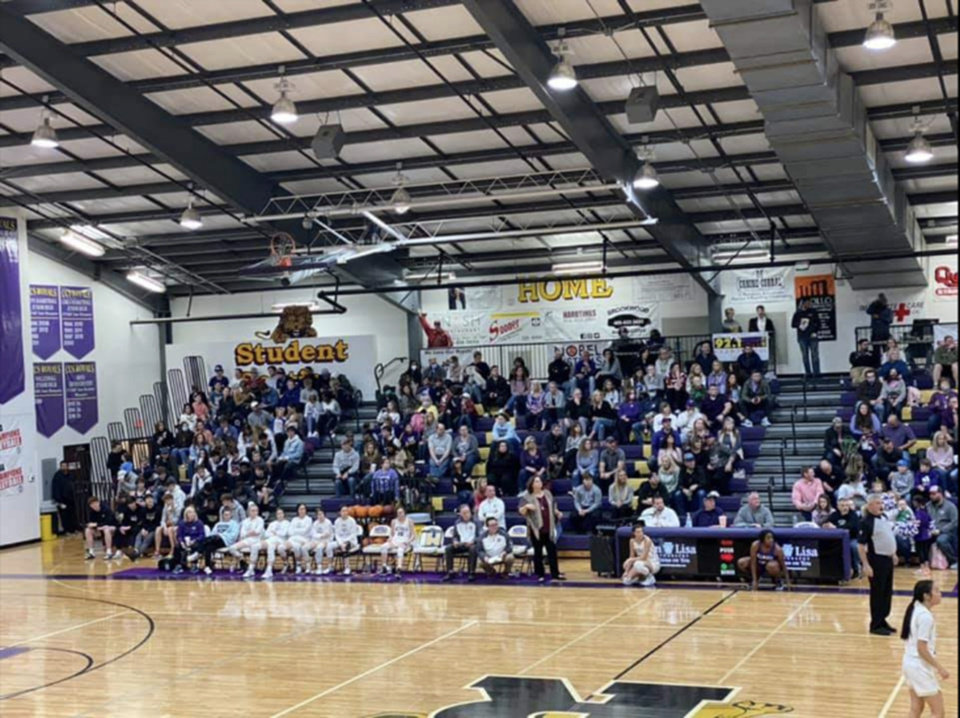 Photo - Photos taken by Millwood superintendent Cecilia Robinson-Woods of Community Christian's crowd Friday night. Robinson-Woods cited health and safety for Millwood's student-athletes and families for pulling the basketball teams.