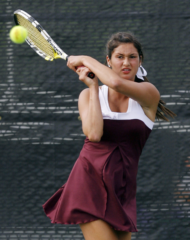 Gabrielle Siegler of Jenks competes in the Class 6A girls #2 singles final during the Class 4A, 5A and 6A girls state tennis championships at the Oklahoma City Tennis Center in Oklahoma City, Saturday, May 8, 2010. Photo by Nate Billings, The Oklahoman