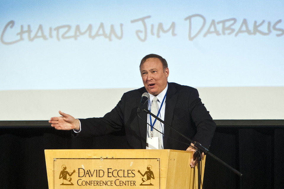 Photo - This June 22, 2013 photo,  Utah State Senator and State Democratic Party Chairman Jim Dabakis speaks during the Utah Democratic Party Organizing Convention at the Ogden Eccles Conference Center in Ogden, Utah.  Dabakis proposed to Stephen Justesen, his boyfriend of over twenty-five years, during a party at Club Sound Wednesday June 26, 2013 in Salt Lake City. Dabakis said the proposal was a spur-of-the-moment decision and a wedding date has not been set.  In historic decisions, the U.S. Supreme Court handed gay-rights supporters major victories Wednesday, extending federal rights to same-sex couples and reversing a ban on gay marriage in California.  (AP Photo/The Salt Lake Tribune, Chris Detrick)