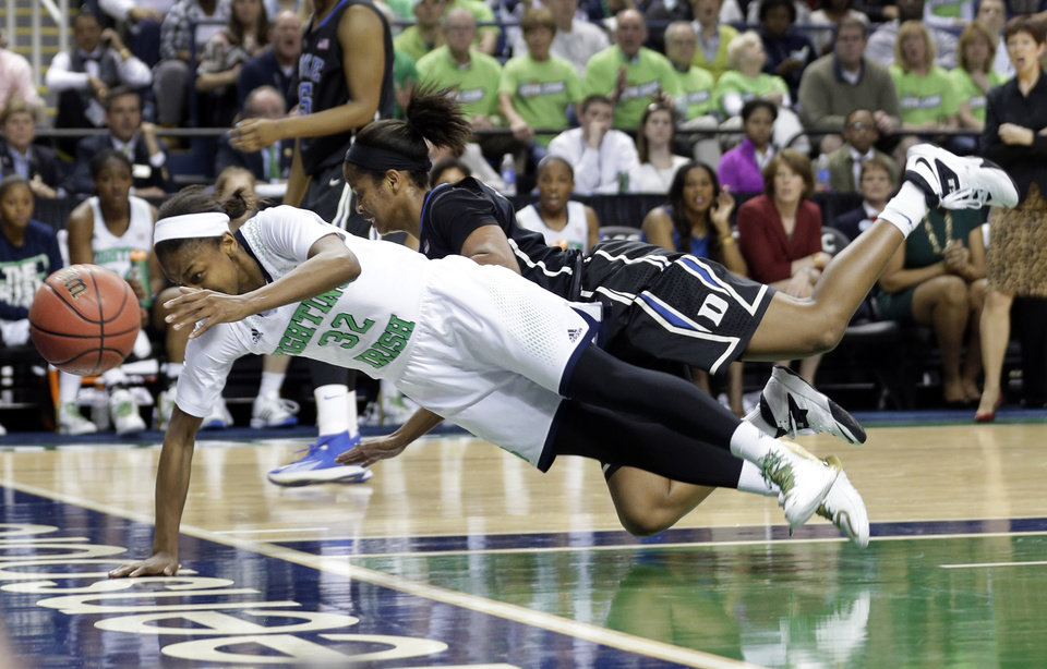 Photo - Notre Dame's Jewell Loyd, front, is knocked down by Duke's Richa Jackson, back, during the first half of the NCAA college basketball championship game of the Atlantic Coast Conference tournament in Greensboro, N.C., Sunday, March 9, 2014. (AP Photo/Chuck Burton)