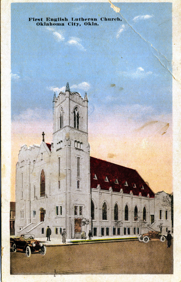 A worn postcard shows a graphic depiction of First English Lutheran Church in Oklahoma City.  PROVIDED BY OKLAHOMA HISTORICAL SOCIETY <strong></strong>