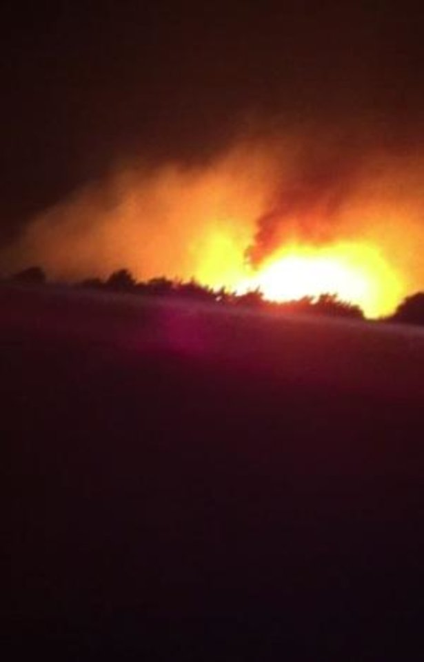 Photo - Wildfire near Geary - photo sent by Ethan Pendleton