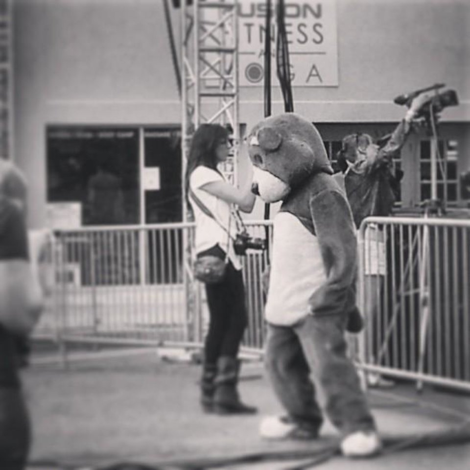 Photo -  Teddy getting his groove on yesterday... #nmf6 (Source: Statigram.com)