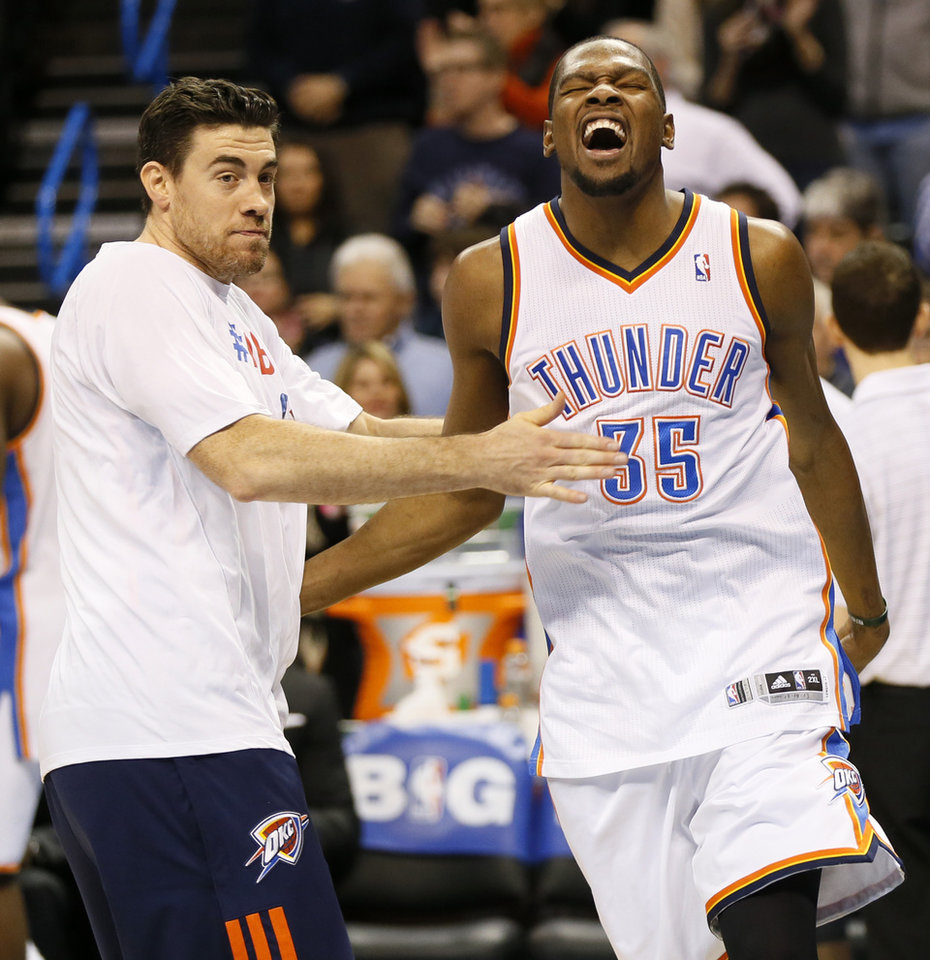 Oklahoma City\'s Kevin Durant (35) screams during pre-game next to Nick Collison (4) before an NBA basketball game between the New York Knicks and the Oklahoma City Thunder at Chesapeake Energy Arena in Oklahoma City, Sunday, Feb. 9, 2014. Photo by Nate Billings, The Oklahoman