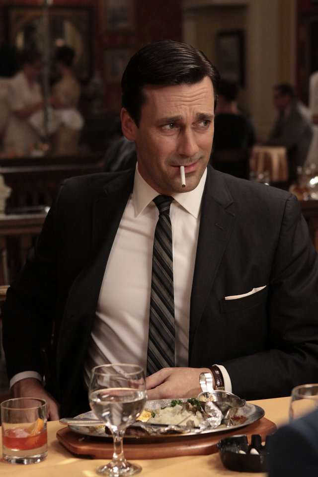 "Photo -  In this publicity image released by AMC, Jon Hamm portrays Don Draper in the AMC series, ""Mad Men."" (AP Photo/AMC) ORG XMIT: NYET477"