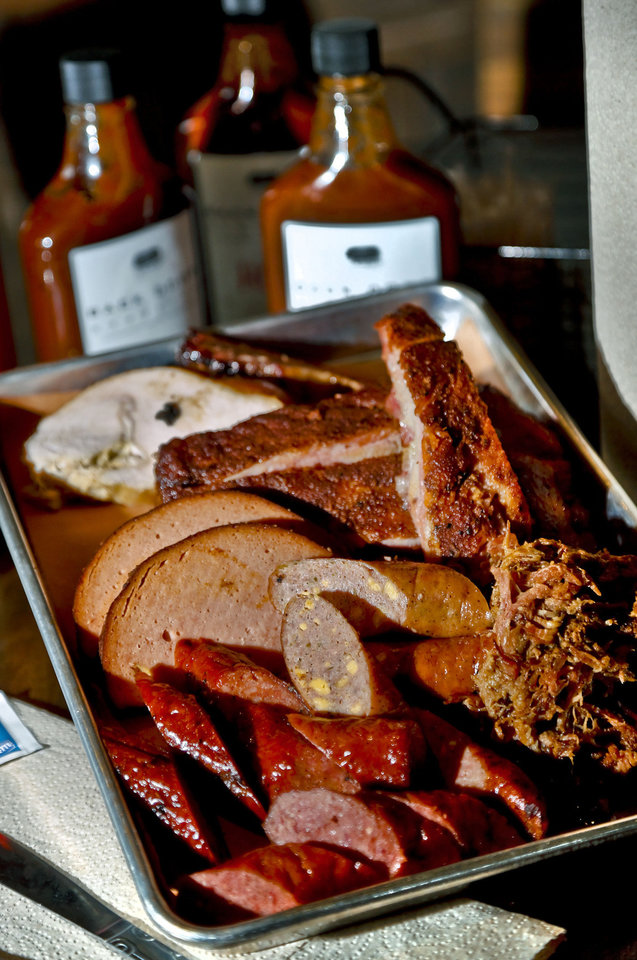 Photo - The Grandad platter is shown at Back Door Barbecue at 315 NW 23 in Oklahoma City. Photo by Chris Landsberger, The Oklahoman  CHRIS LANDSBERGER - CHRIS LANDSBERGER