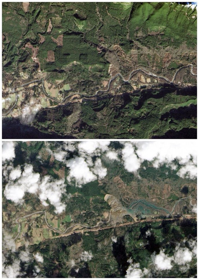 Photo - This combination of images provided by NASA shows the Oso, Wash. area on Jan. 18, 2014, top, and the same area on March 23, 2014, bottom, after a March 22 landslide sent muddy debris spilling across the North Fork of the Stillaguamish River. The debris engulfed numerous homes, resulting in the deaths of at least 14 people.  (AP Photo/NASA)