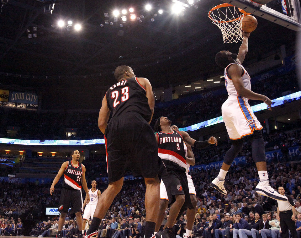 Oklahoma City\'s James Harden (13) shoots a lay up during the NBA game between the Oklahoma City Thunder and the Portland Trailblazers, Sunday, March 27, 2011, at the Oklahoma City Arena. Photo by Sarah Phipps, The Oklahoman