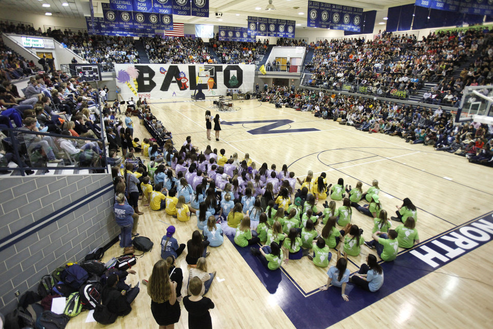Students listen to speakers as Edmond North High School holds its reporting assembly at the conclusion of BALTO week in Edmond, OK, Friday, Feb. 17, 2012. By Paul Hellstern, The Oklahoman