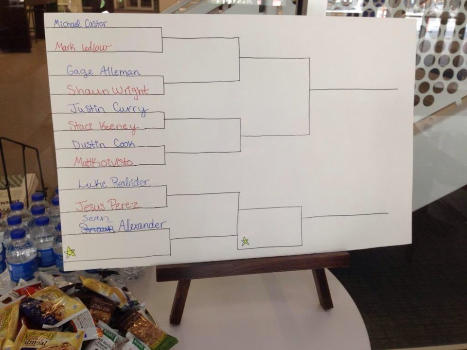 Photo -  The bracket before the event at The Oklahoman's Mario Kart tournament on May 15, 2015.