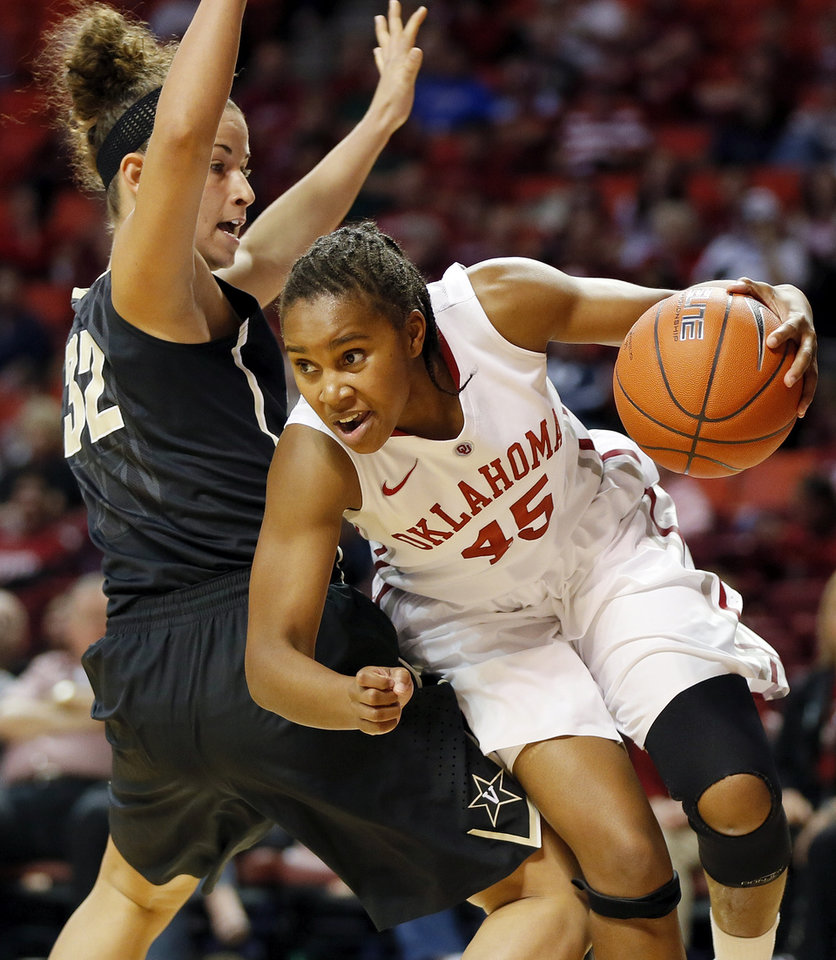 OU's Jasmine Hartman (45) dribbles around Vanderbilt's Gabby Smith (32) in the first half during a women's college basketball game between the University of Oklahoma Sooners and the Vanderbilt Commodores at Lloyd Noble Center in Norman, Okla., Sunday, Dec. 16, 2012. Photo by Nate Billings, The Oklahoman