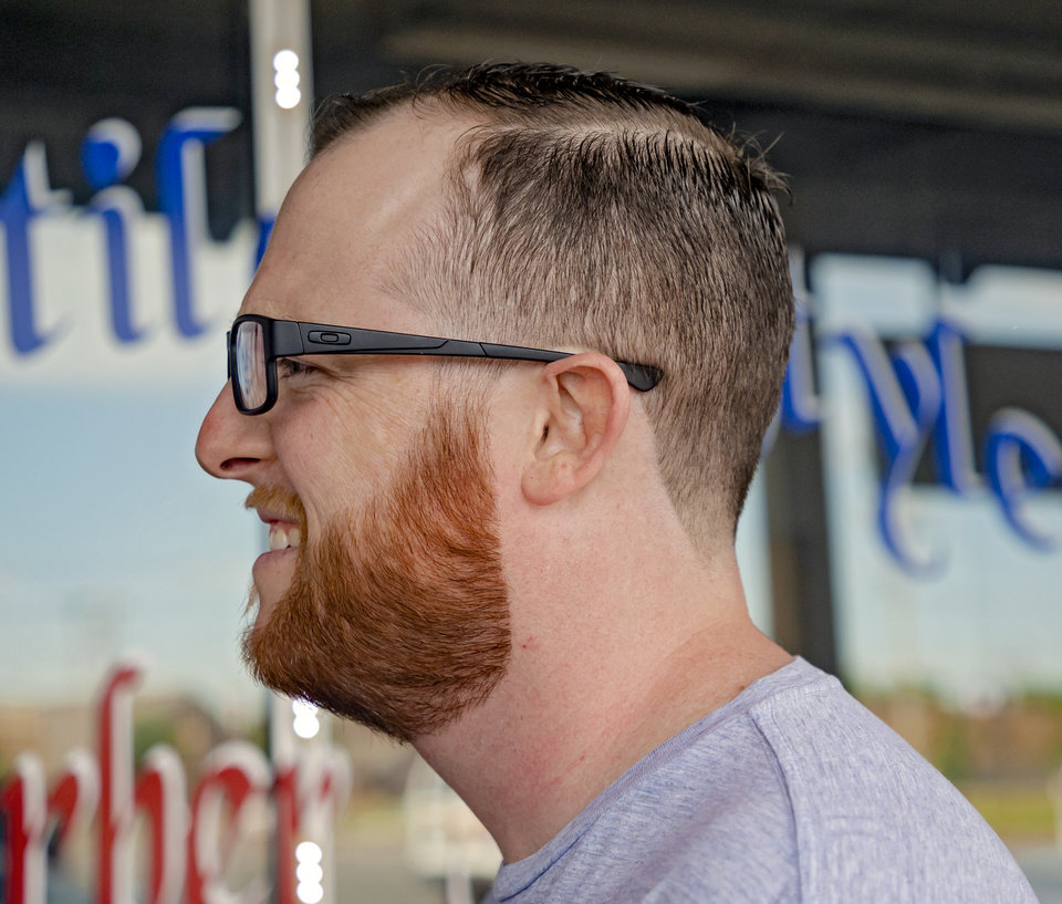 Photo - The Oklahoma's David Dishman's post Coronavirus quarantine look after getting a haircut and beard trim by Michael Mitchell at Versatile Styles Barber Shop located at 9132 S. Walker Ave. on Tuesday, May 5, 2020, in Oklahoma City, Okla. . [Chris Landsberger/The Oklahoman]