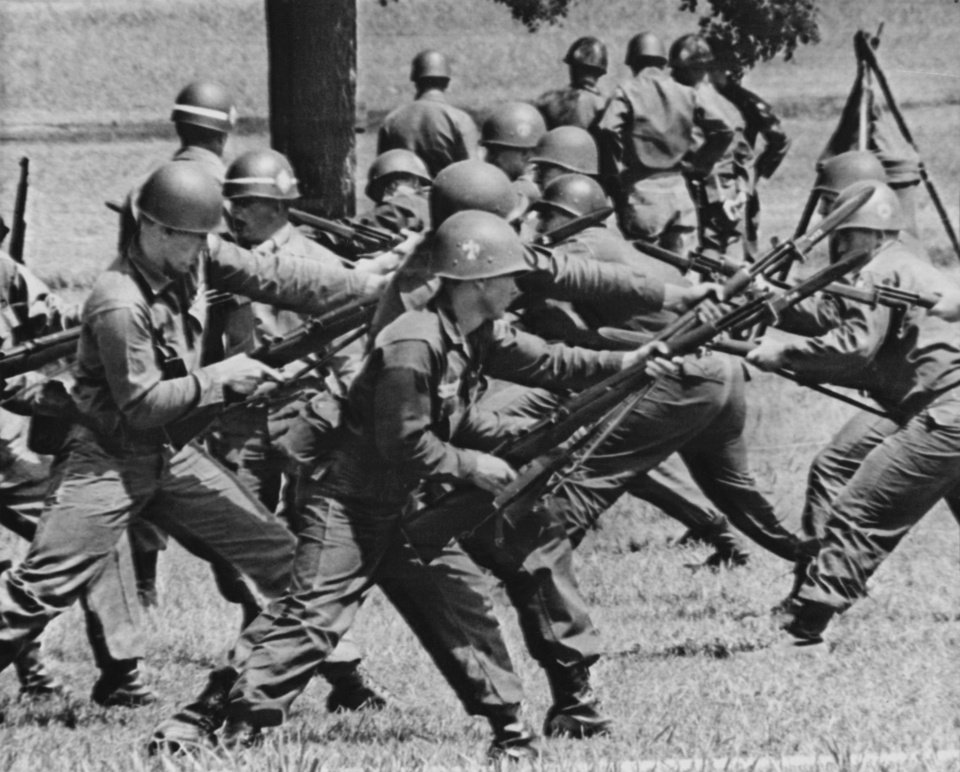 Photo - These Thunderbird recruits from Miami, Okla., learn the art of bayonet fighting at Fort Chaffee Thursday.  Staff photo by George Tapscott.  Original dated 06/02/1966.  Published in The Daily Oklahoman 06/03/1966.