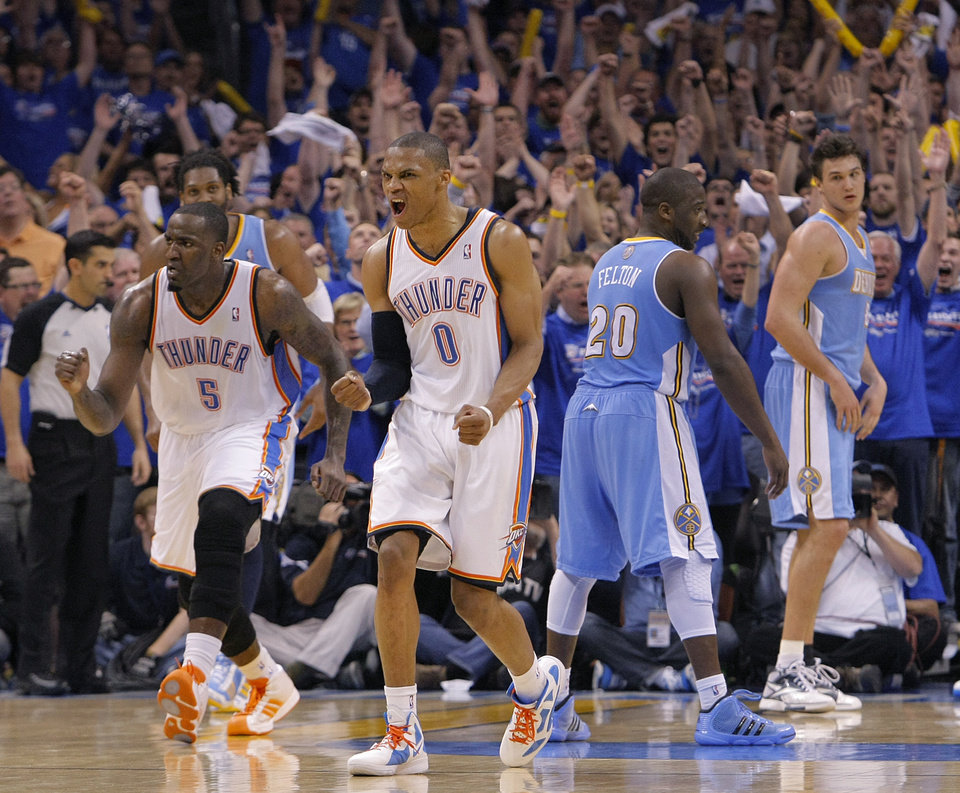 Photo - Oklahoma City's Russell Westbrook (0) reacts after making the shot to put the Thunder up for good in the 107-103 win over Denver during the first round NBA playoff game between the Oklahoma City Thunder and the Denver Nuggets on Sunday, April 17, 2011, in Oklahoma City, Okla. Photo by Chris Landsberger, The Oklahoman