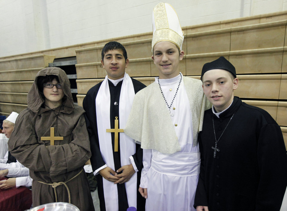 Representing the Vatican City during the Global Festival, from left, are Arcy Hicks, Brandon Rodriguez, Karsen Flies and Stephen Woods.  By Paul Hellstern, The Oklahoman <strong>PAUL HELLSTERN - Oklahoman</strong>