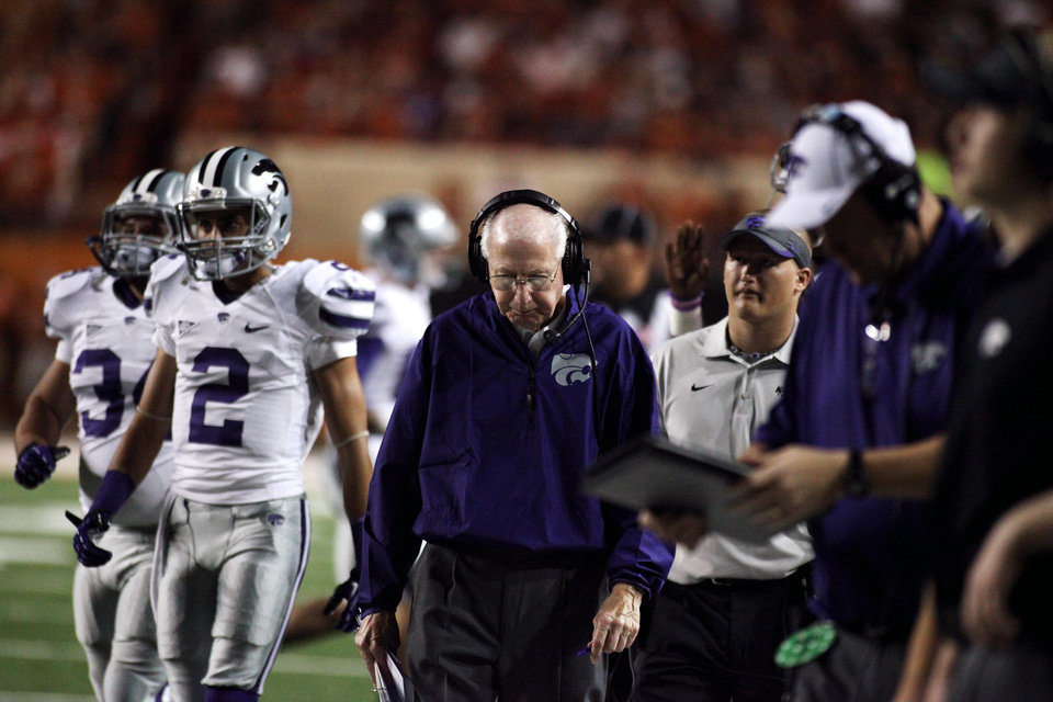 Kansas State coach Bill Snyder paces the sidelines at the Texas Kansas State game Saturday Sept. 21, 2013 in Austin Texas. (AP Photo/The Daily Texan, Chelsea Purgahn)