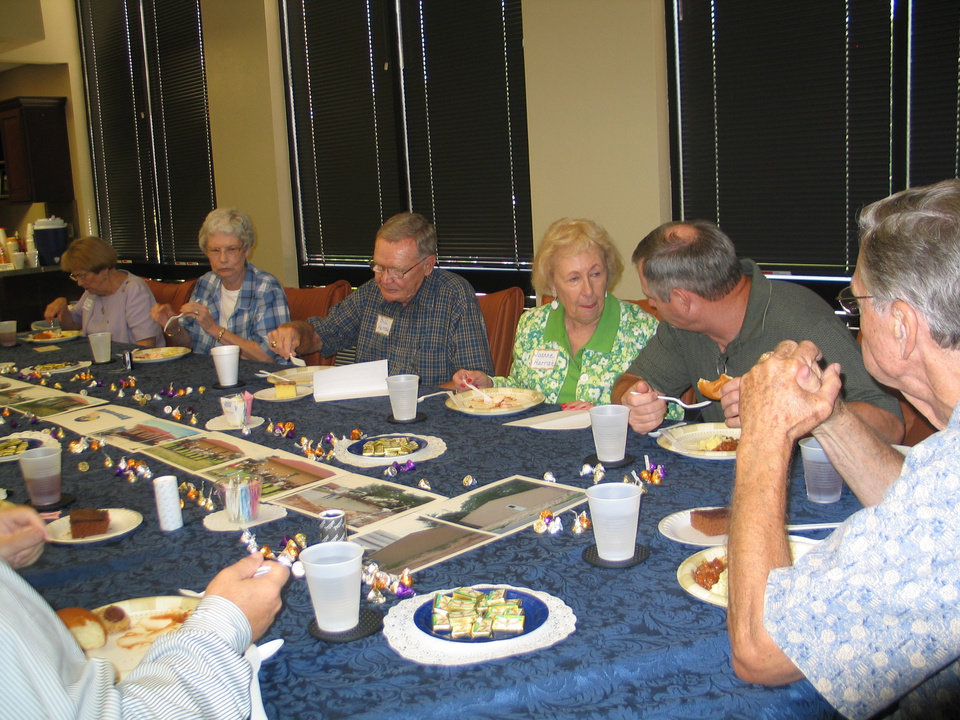 Bill and Joanne Harrah dining with Society members, supporters, City officials, and Chamber representation at the BancFirst Community Room in Harrah<br/><b>Community Photo By:</b> Karen Erbin, Editor<br/><b>Submitted By:</b> Karen, Harrah