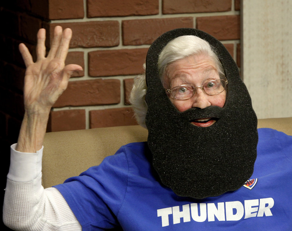 OKLAHOMA CITY THUNDER / NBA BASKETBALL TEAM / NBA FINALS / FANS / SENIOR CITIZEN / BEARD: Being 88 years old doesn\'t deter Guila Shell from showing her support for the OKC Thunder, whom she affectionately refers to as