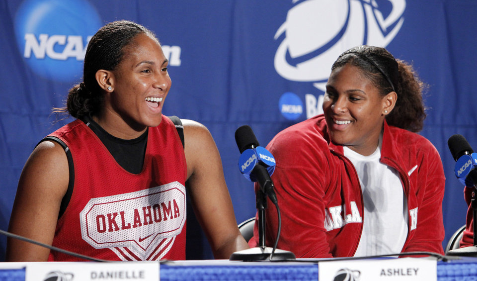 Photo - University of Oklahoma players Ashley and Courtney Paris speak to the media before the Sooners elite eight appearance in NCAA women's basketball tournament at the Ford Center in Oklahoma City, Okla. on Monday, March 30, 2009. 