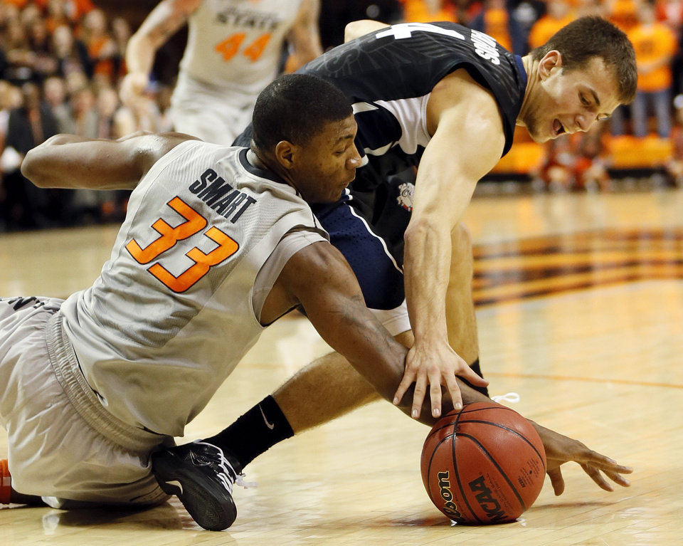 Oklahoma State's Marcus Smart (33) and Gonzaga's Kevin Pangos (4) chase the ball during a men's college basketball game between Oklahoma State University (OSU) and Gonzaga at Gallagher-Iba Arena in Stillwater, Okla., Monday, Dec. 31, 2012. Photo by Nate Billings, The Oklahoman