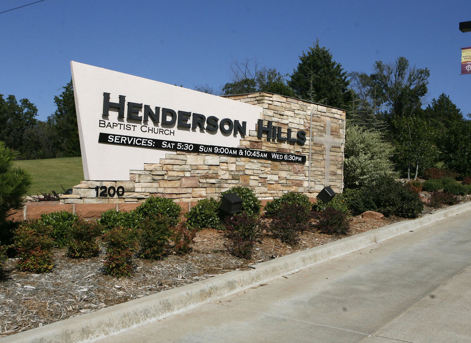 Photo -  The entrance to Henderson Hills Baptist Church in Edmond is shown in this photograph. Photo by Paul Hellstern, The Oklahoman Archives   PAUL HELLSTERN
