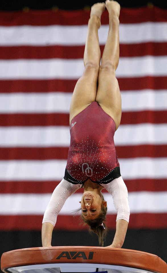 Oklahoma's Taylor Spears competes on the vault during the Perfect 10 Challenge hosted by the Bart and Nadia Sports and Health Festival at the Cox Convention Center in Oklahoma City, Friday, Feb. 10, 2012. Photo by Bryan Terry, The Oklahoman