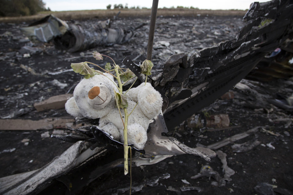 Photo - A toy is placed at the crash site of Malaysia Airlines Flight 17 near the village of Hrabove, eastern Ukraine Monday, July 21, 2014. Four days after Flight 17 was shot out of the sky, international investigators still have had only limited access to the crash site, hindered by pro-Russia fighters who control the verdant territory in eastern Ukraine. Outrage over the delays and the possible tampering of evidence at the site was building worldwide, especially in the Netherlands, where most of the victims were from. (AP Photo/Dmitry Lovetsky)