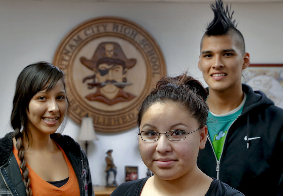 Indian Education organization members Sydney Keith, Jessica Hulbutta and Celo Keith, from left, at Putnam City High School. Photo by Chris Landsberger, The Oklahoman <strong>CHRIS LANDSBERGER - CHRIS LANDSBERGER</strong>
