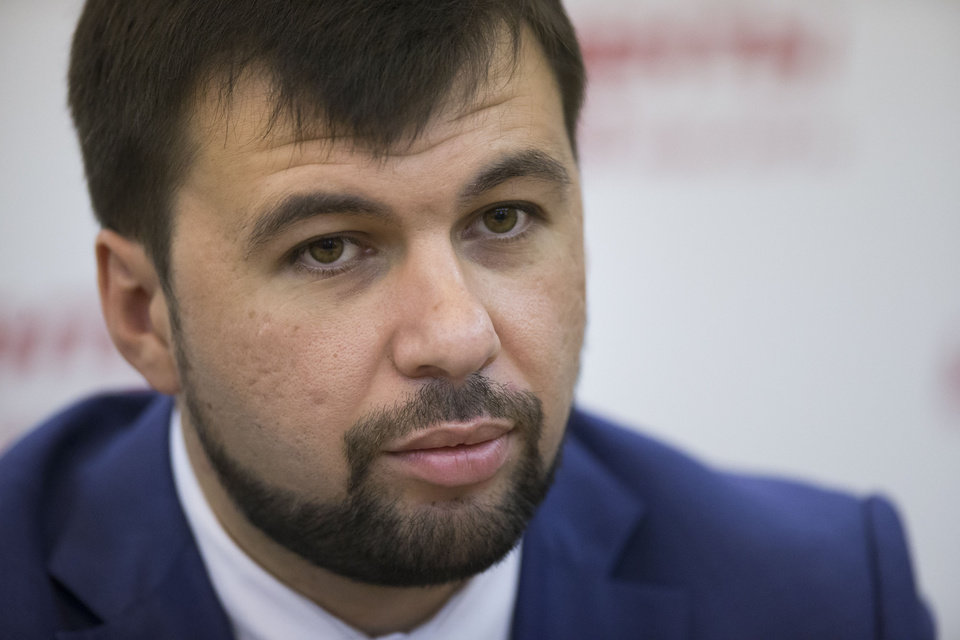 Photo - Denis Pushilin, leader of the insurgent Donetsk People's Republic attends a news conference  in Moscow, Russia, Thursday, June 19, 2014. Leader of the self-proclaimed Donetsk People's Republic Denis Pushilin admits the pro-Russian fighters are significantly weaker than the Ukrainian army. Pro-Russia separatists shot down a Ukrainian military transport plane Saturday, killing all 49 crew and troops aboard in a bloody escalation of the conflict in the country's restive east. (AP Photo/Alexander Zemlianichenko)