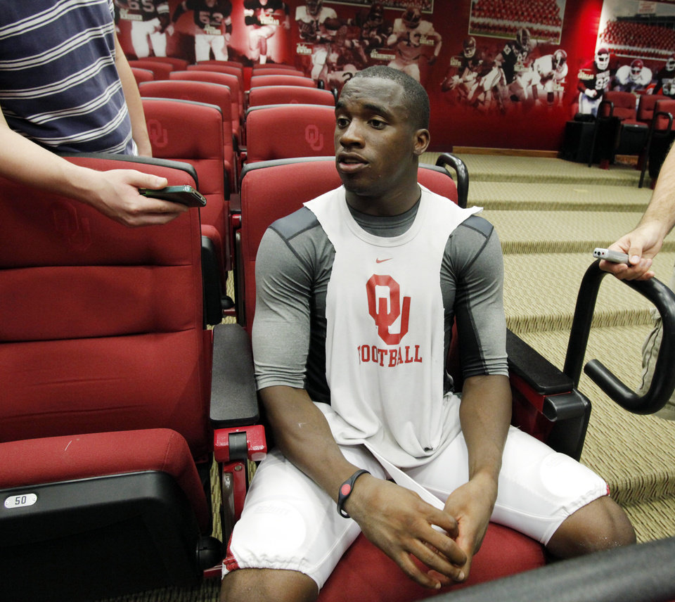 Demontre Hurst (6) speaks to the press at a media availability for the University of Oklahoma Sooner (OU) football team following practice on Tuesday, Aug. 21, 2012 in Norman, Okla.  Photo by Steve Sisney, The Oklahoman