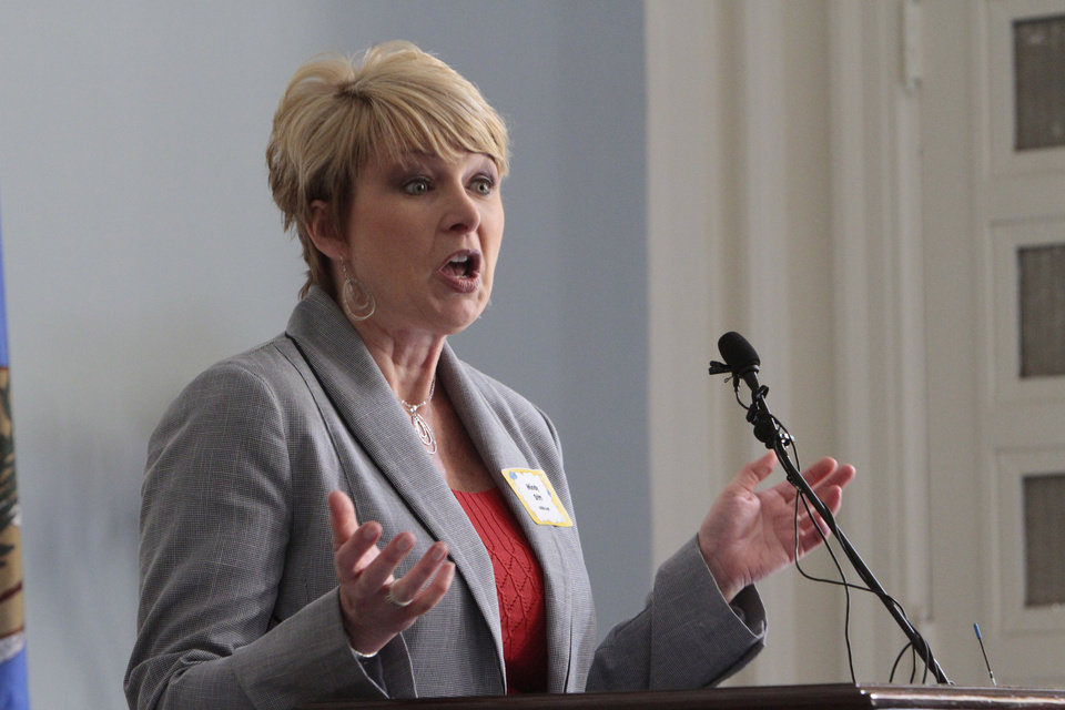 Oklahoma Energy Resources Board Executive Director Mindy Stitt talks about the board's new safety campaign Tuesday at the state Capitol. <strong>David McDaniel - The Oklahoman</strong>