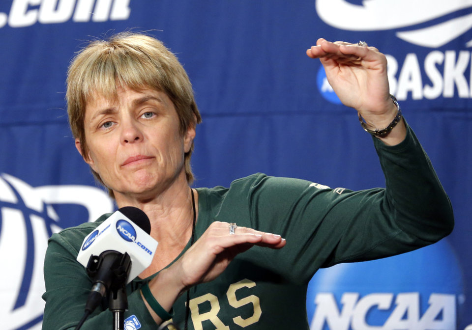 Baylor head coach Kim Mulkey speaks during the press conference and practice day at the Oklahoma City Regional for the NCAA women's college basketball tournament at Chesapeake Energy Arena in Oklahoma City, Saturday, March 30, 2013. Photo by Sarah Phipps, The Oklahoman