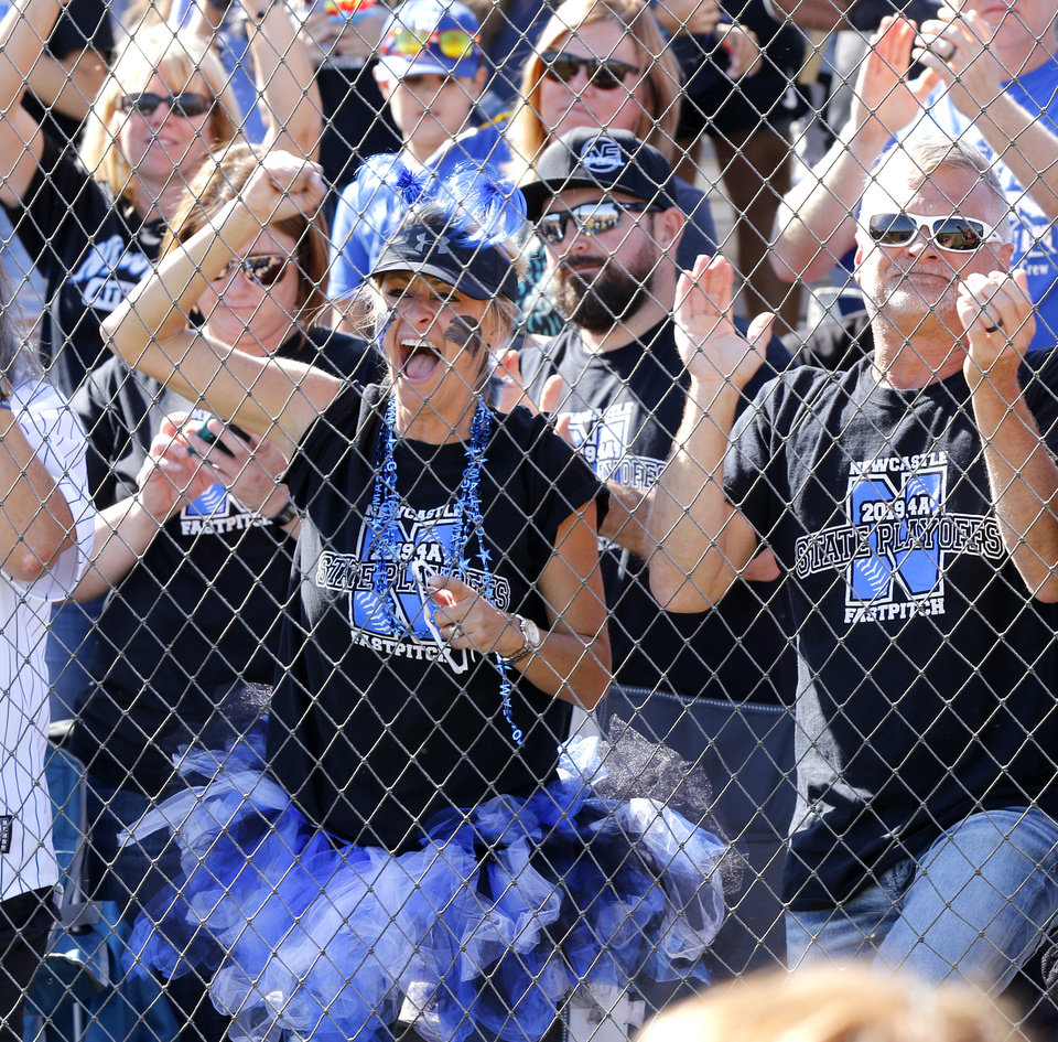 Photo - Newcastle fans during the 4A Fast Pitch Championship game between Newcastle and Purcell at the Ball Fields at Firelake in Shawnee, Saturday, October 19, 2019. [Doug Hoke/The Oklahoman]