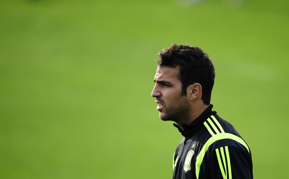 Photo - Spain's Cesc Fabregas looks on during a training session of the Spanish national team at the Atletico Paranaense training center in Curitiba, Brazil, Monday, June 9, 2014. Spain will play in group B of the Brazil 2014 World Cup. (AP Photo/Manu Fernandez)