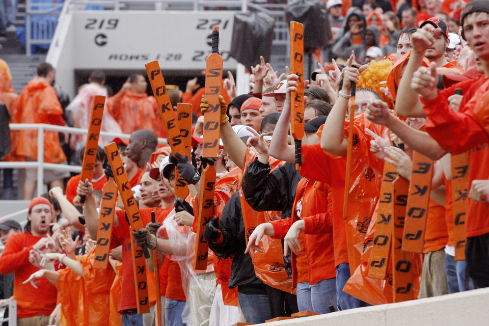 Photo - Students cheer it up at the Oklahoma State University (OSU) football game against Missouri State University (MSU) Saturday Sept. 13, 2008 at Boone Pickens Stadium in Stillwater, Okla. BY DOUG HOKE, THE OKLAHOMAN.