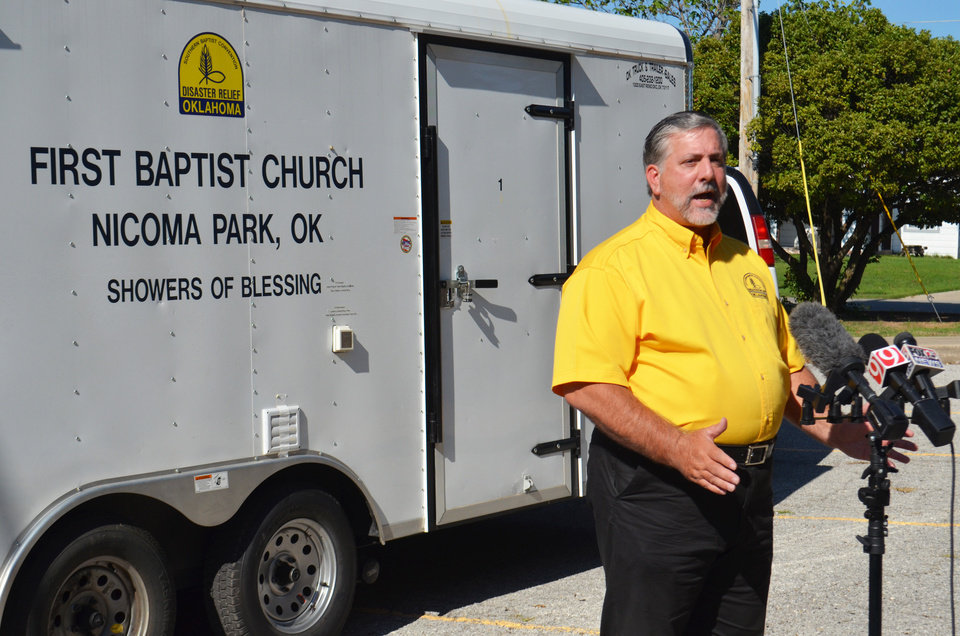 Photo - Oklahoma Baptist Disaster Relief Director Don Williams talks during a news conference on Monday in the Oklahoma City metro area. [Photo provided]